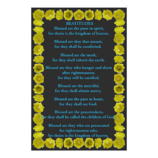 Beatitudes in a Prickly Pear Cactus Frame Poster