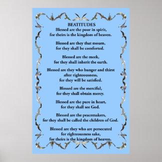 Beatitudes in Flying Seagull Border Poster