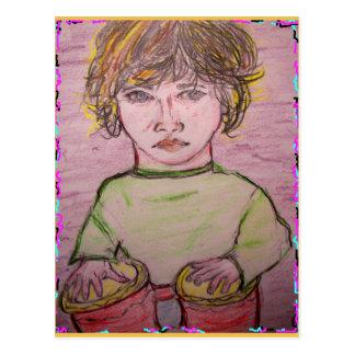 beatnik bongo music rocks postcard