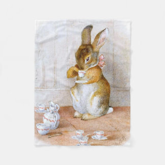 Beatrix Potter: Bunny Girl Drinking Tea Fleece Blanket