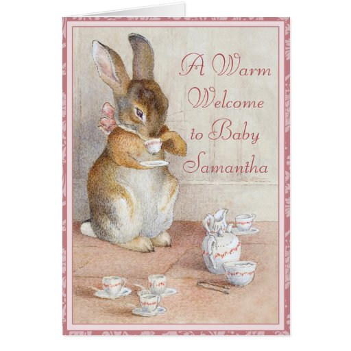 Beatrix Potter Custom Welcome New Baby Girl Card