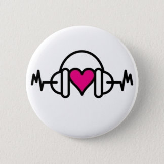 Beats of Love | Pink heart with pulse & headphone 2 Inch Round Button