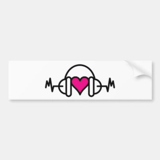 Beats of Love | Pink heart with pulse & headphone Bumper Sticker
