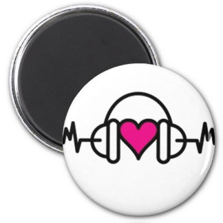 Beats of Love | Pink heart with pulse & headphone Magnet