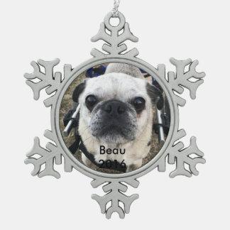 Beau 2016 snowflake pewter christmas ornament