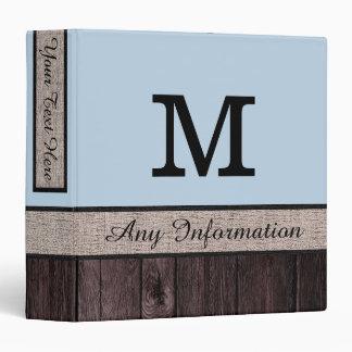 Beau blue Colour Rustic Look Wood Monogram Binder
