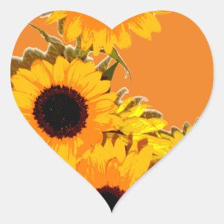 Beau bouquet de tournesol autocollant en cœur
