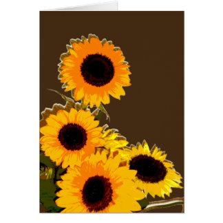 Beau bouquet unique de tournesol carte de vœux