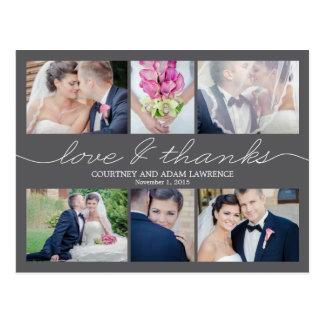 Beau carte de remerciements de mariage d'écriture carte postale