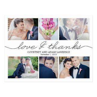 Beau carte de remerciements de mariage d'écriture  cartes postales