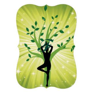 Beau chi vert d'énergie de chakra de yogi de yoga carton d'invitation  12,7 cm x 17,78 cm