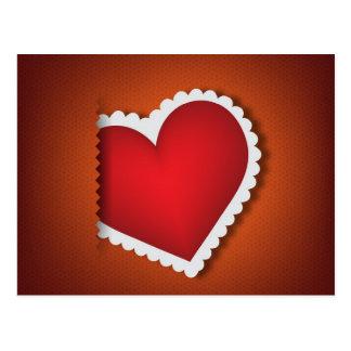 Beau coeur de textile - jour de Valentine s Carte Postale