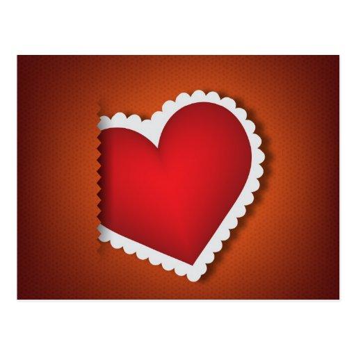 Beau coeur de textile - jour de Valentine s Cartes Postales