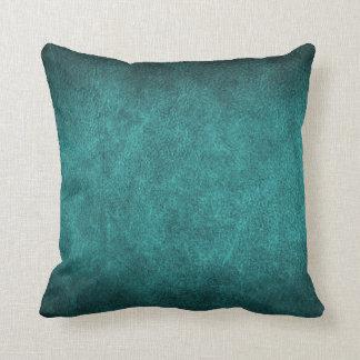 Beau cuir de Faux de Vieux Monde de turquoise Coussin