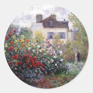 Beau jardin d'agrément avec Monet Sticker Rond