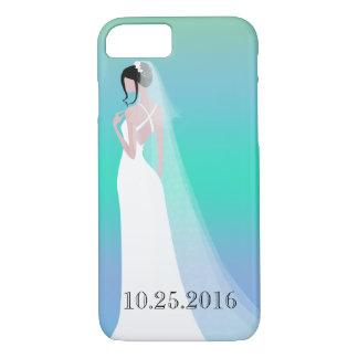 Beau jour du mariage de jeune mariée coque iPhone 7