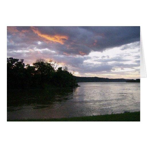 Beau lever de soleil chez la rivière Ohio Carte De Vœux