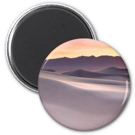 Beau lever de soleil de désert magnets pour réfrigérateur