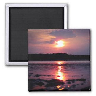 Beau lever de soleil de plage aimants pour réfrigérateur