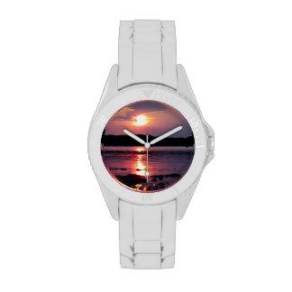 Beau lever de soleil de plage montres bracelet