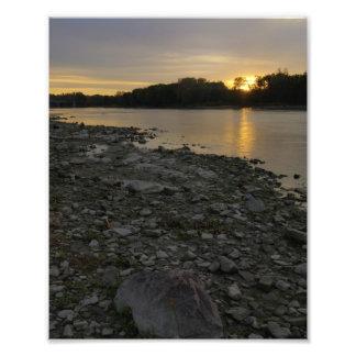Beau lever de soleil de rivière photographies