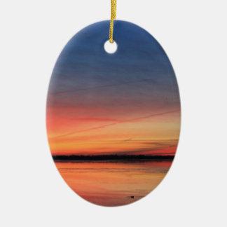 Beau lever de soleil ornement ovale en céramique
