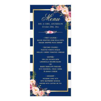 Beau menu rayé floral de mariage de bleu marine