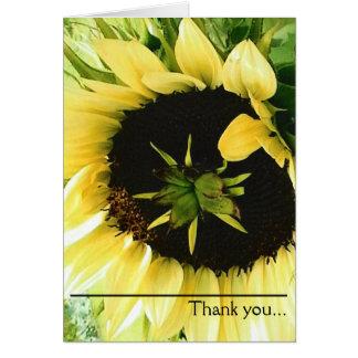 Beau Merci jaune de tournesol Carte De Vœux