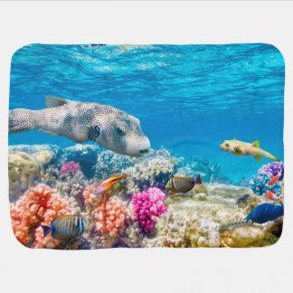 beau monde sous-marin de poissons, cabot de douche couverture pour bébé