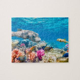 beau monde sous-marin de poissons, cabot de douche puzzle