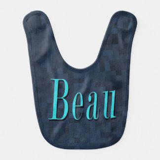 Beau, Name Blue Mosaic Logo, Baby Boys Blue Bib