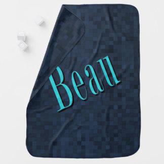 Beau Name Logo On Blue Mosaic, Baby Blanket