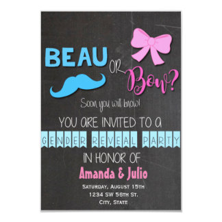 "Beau or Bow Gender Reveal 3.5"" X 5"" Invitation Card"