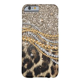 Beau poster de animal à la mode de faux de léopard coque barely there iPhone 6