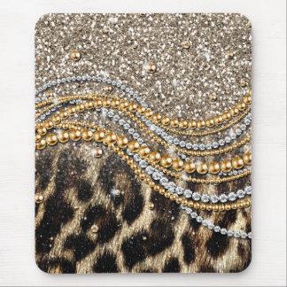 Beau poster de animal girly à la mode de léopard tapis de souris