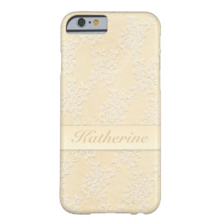 Beau rétro motif beige Girly de dentelle féminin Coque Barely There iPhone 6