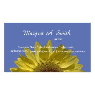 Beau tournesol jaune dans le professionnel bleu cartes de visite professionnelles