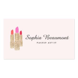 Beauté rose de rouge à lèvres de paillette d'or de carte de visite standard