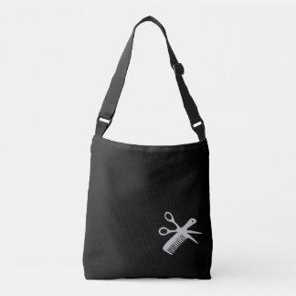Beautician / Barber Design Silver on Black Name Crossbody Bag