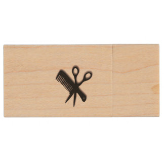 Beautician Design Pink Wood USB 2.0 Flash Drive