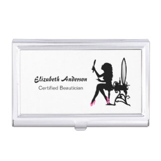 Beautician Pink and Black Girly Girl Hairstylist Business Card Holder