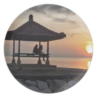 Beautidul sunrise in Bali Plate