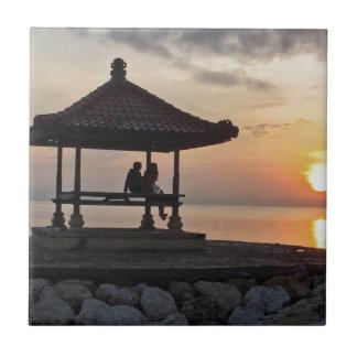 Beautidul sunrise in Bali Tile
