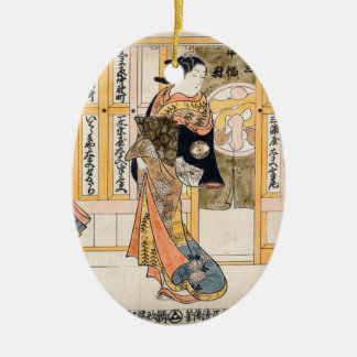 Beauties of the three capitals triptych ceramic ornament