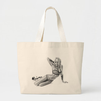 Beautiflul tattooed Suicidegirl Large Tote Bag