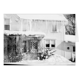 Beautiful 1950's Snow Covered Old House Card