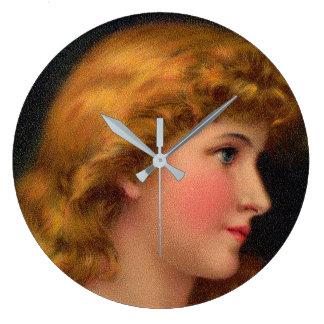 beautiful 19th century woman large clock