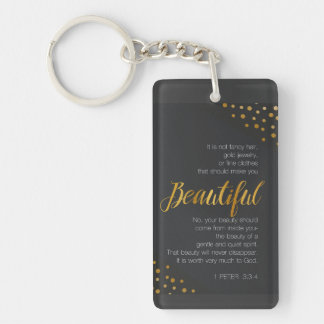 Beautiful, 1 Peter 3 Scripture Verse Keychain