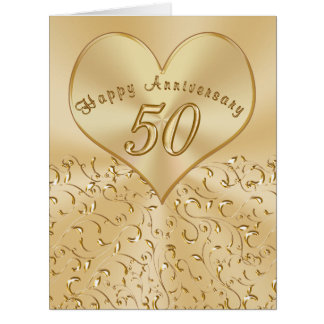 Beautiful 50th Wedding Anniversary Cards, 3 Sizes Card