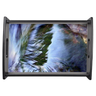 Beautiful Abstract Artful Blue Serving Tray